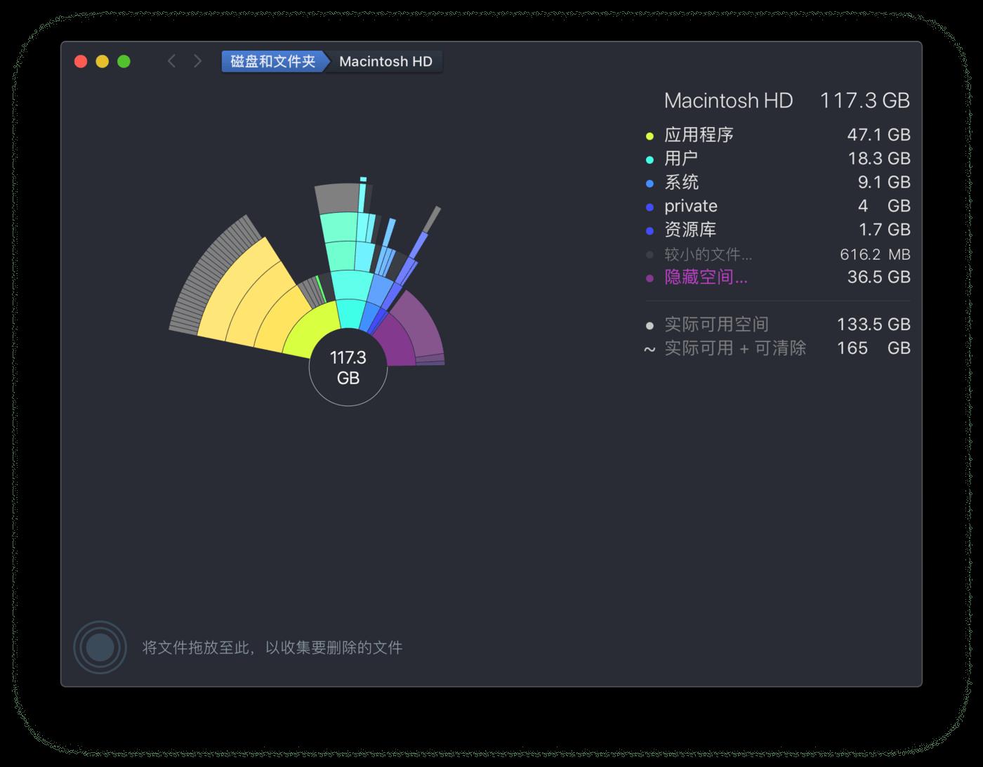 DaisyDisk 显示磁盘占用情况