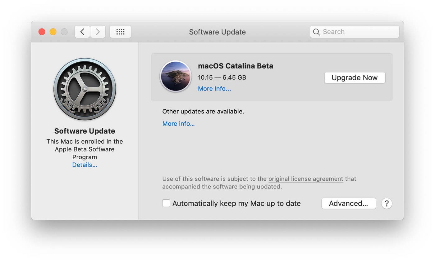 macos catalina beta 5 更新提示