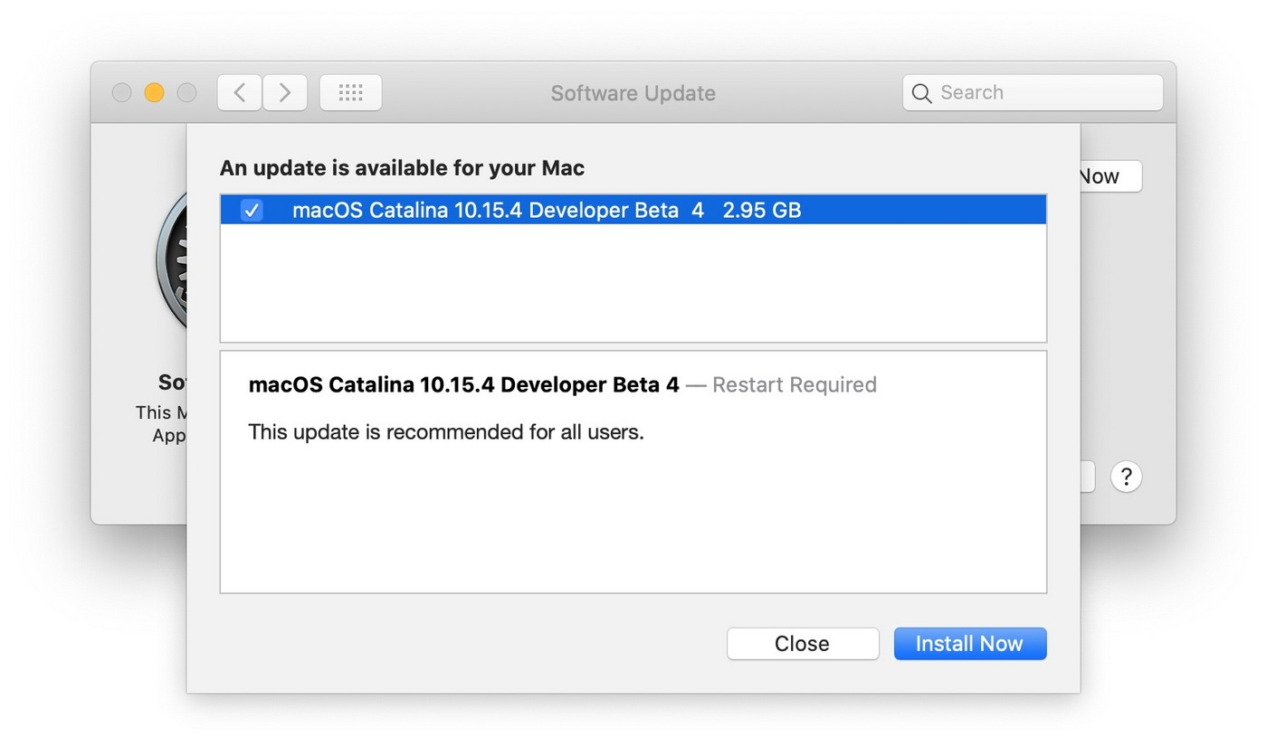 macOS Catania 10.15.4 beta4 更新提示