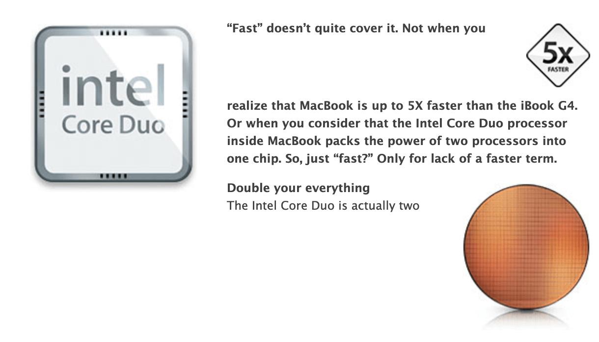 苹果官网 Intel Core Duo 与 G4 速度对比图